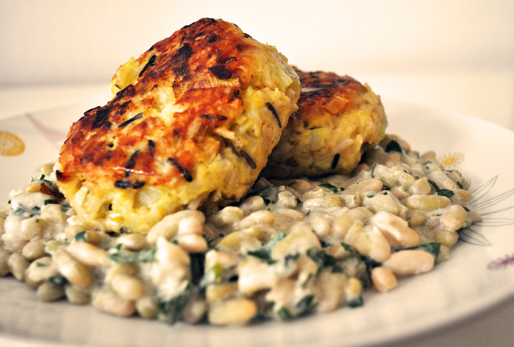 Last Night's Dinner: Leek, Wild Rice and Potato Cakes with Flageolet ...