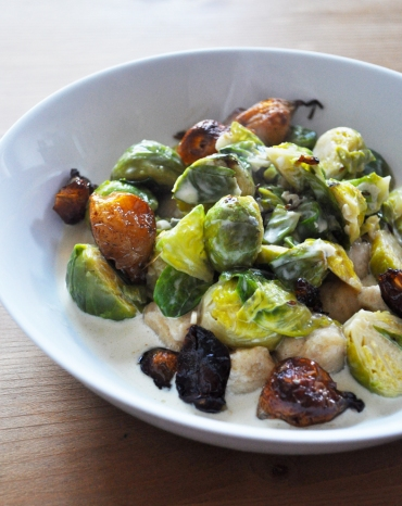Brussels Sprouts gnocchi and shallots